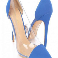 Mckensie Luxury Clear Sides High Heels Blue