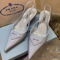 PRADA new solid color patent leather sandals ladies pointed high heels Blue