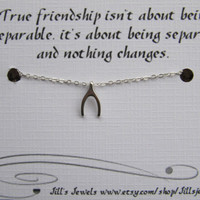 Tiny Wishbone Necklace and Friendship Quote Inspirational Card- Bridesmaids Gift - Small Horseshoe - Quote Gift