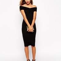 ASOS Bodycon Dress with Bardot Shoulder and Cross Front Detail
