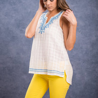 Out To Sea Top, Cobalt-Ivory