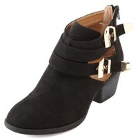 Sueded Cutout Ankle Bootie by Charlotte Russe - Black