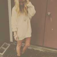 Comfy Champagne Oversized Knit Sweater