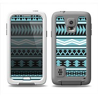 The Vector Blue & Black Aztec Pattern V2 Samsung Galaxy S5 LifeProof Fre Case Skin Set