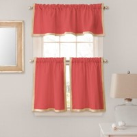Seaview Window Curtain Tier Pairs in Coral