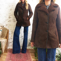 Vintage 1970's Chocolate Brown SHEARLING Sheepskin Leather Coat || Warm Hippie Boho Coat || Size S