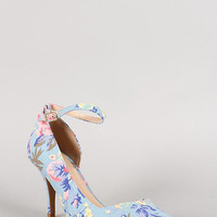 Qupid Floral Ankle Strap Pointy Toe Dorsay Pump Color: Lt Blue, Size: 8.5