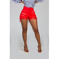 RADIANT Red Ripped Jean Shorts
