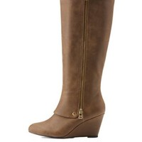Taupe Knee-High Wedge Boots with Zipper by Charlotte Russe