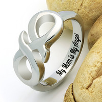 """Infinity Ring for Mother, Mom Promise Ring Double Infinity Ring """"My Mom is My Angel"""" Engraved on Inside Best Gift for Mother Daughter Forever"""