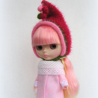 Hat for Blythe doll soft and fluffy, knitted hat, blythe helmet, blythe outfit, blythe doll gnome hat, pixie hat, beanie, green