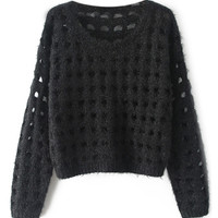 ROMWE | Hollow-out Black Jumper, The Latest Street Fashion