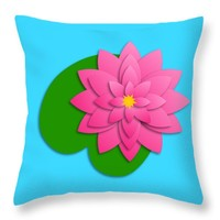 "Lotus Flower 2 - Digital Illustration Throw Pillow 14"" x 14"""