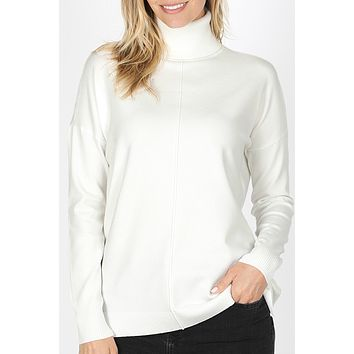 Relaxed Fit Garment Dyed Long Sleeve Turtleneck Pullover Sweater