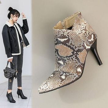Pointed Toe Snake Pattern Women's High Heeled Ankle Boots