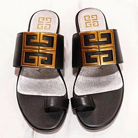 Bunchsun Givenchy Fashion New Solid Color Flip Flop Slippers Shoes Black