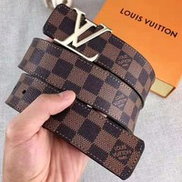 LV fashionable and casual lady belt hot sales plaid printed gold and silver two-color buckle belt