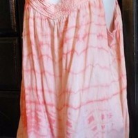 OLD NAVY WOMEN'S TUNIC CAMI TOP XXL 2XL COTTON SLEEVELESS PEACH TIE DYE COVERUP