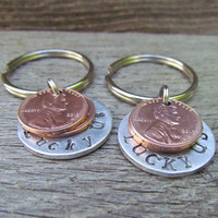Lucky Us Keychain Set of 2 His Hers Key Chain Couple DOUBLE 2 Penny Hand Stamped Charm Choose Penny Year from 1950 to 2014 Wedding Gift