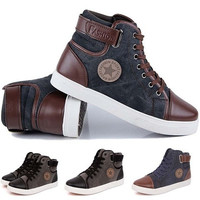 New Men's Fashion Casual Shoes Trend Canvas Male Low Board Breathable Air Shoes Autumn Flats Top Classic Leather Shoes [9302389002]