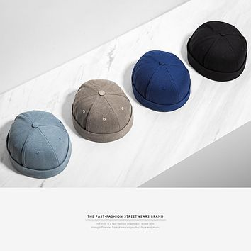 New Round Hat Unisex Snapback Couple Caps Flanging Solid color Fashion Men's hats