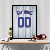 Chicago Cubs Jersey Poster - Print Personalized Select ANY Name & ANY Number
