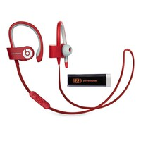 Beats by Dr. Dre Powerbeats 2 Wireless Red In-Ear Headphones Travel Bundle with Portable Charger
