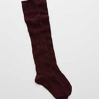 Aerie Cable Knit Over-The-Knee Socks, Deep Plum