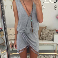 Casual Summer Dress Bodycon Bandage V-Neck Retro Sleeveless Irregular Tassel Beach Women Dress