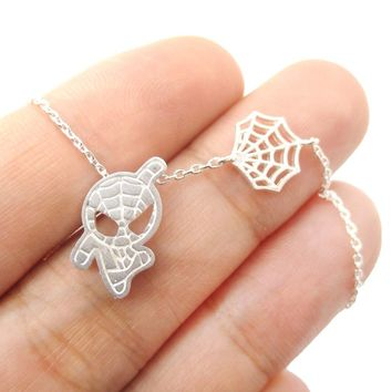 Spider-Man and Web Shaped Charm Necklace in Silver   Marvel Super Heroes