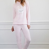 Plush Bunny Hoodie and Pants Set