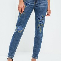 Missguided - Blue Riot High Rise Floral Embroidered Jeans