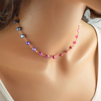 NEW Real Pearl Necklace, Rose Gold Filled, Pink Magenta Purple Blue, Genuine Freshwater Pearls, Colorful Jewelry, Free Shipping