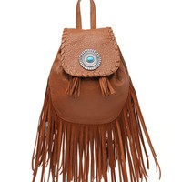 With Love From CA Mini Fringe School Backpack - Womens Handbags - Brown - One