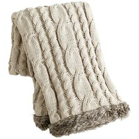 Cable-Knit Faux Fur Trimmed Throw - Taupe
