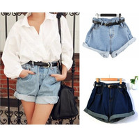 Fashion Shorts Korea Vintage High Waist Denim Jeans Roll-up Hem Cuffs Short Jeans Pants trousers  G0379 = 1930354308