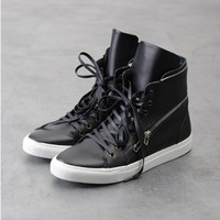 Marc Dual Zipped Leather Hightop Sneakers - XXL LIMITED STOCK