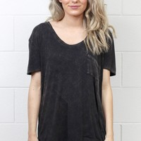 Short Sleeve Acid Wash Pocket Top {Charcoal}