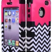 Bastex Hybrid Case for Apple Iphone 4 - Black Silicone with Hard Hot Pink & White Chevron Pattern