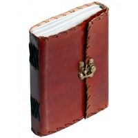 Bygone Times - Writing Journal / Diary With Handmade Paper & Brown Leather Cover