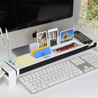 Cyanics iStick Desktop Organizer Computer Desk Accessories 3 Port USB Hub Cup Holder Card Reader Letter Opener Paper Holder Storage Space for Stationery Items (White)