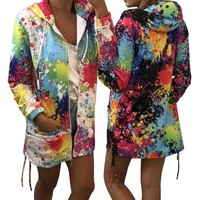 Trendy 2018 Retro Floral Zip Up Jacket Bomber Hooded Ladies Coats Spring Autumn Multicolor Casual Sporting Jackets Outwear AT_94_13
