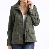 Womens Military parka jacket in olive green
