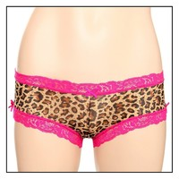 Leopard And Pink Lace Hot Pants Size : Small