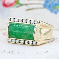 Vintage Jade Ring | Bold Cocktail Ring | 14k Rose Gold Engagement Ring | Unique Statement Ring | 1970s Diamond Ring | Size 8.25