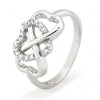 Tioneer Sterling Silver Cubic Zirconia Heart Infinity Ring