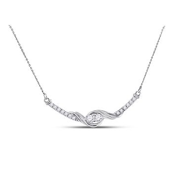 14k White Gold Diamond 2-stone Hearts Together Bar Pendant Necklace 1/3 Cttw