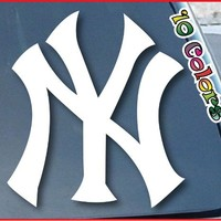 "New York Yankees Car Window Vinyl Decal Sticker 4"" Wide (Color: White)"