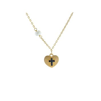 """14k Gold Plated Silver Satin Heart w/ engraved Black Cross & Dangling Pearl Necklace, 15.5"""""""