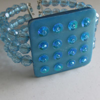 Blue Cuff Bracelet Square Bracelet Fashion Jewelry Statement Bracelet Square Jewelry